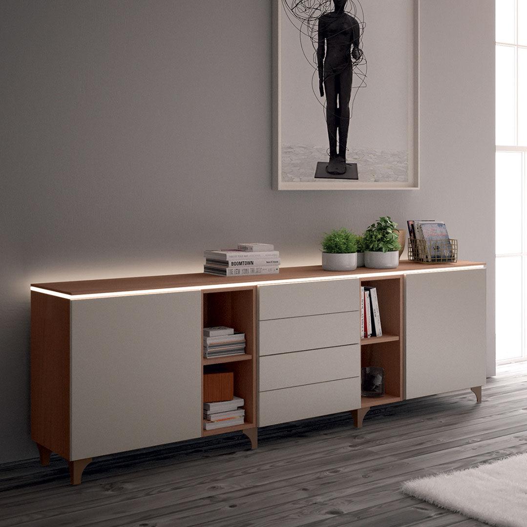 Credenza moderna / in legno laccato / bianca - MD05PL - GIESSEGI