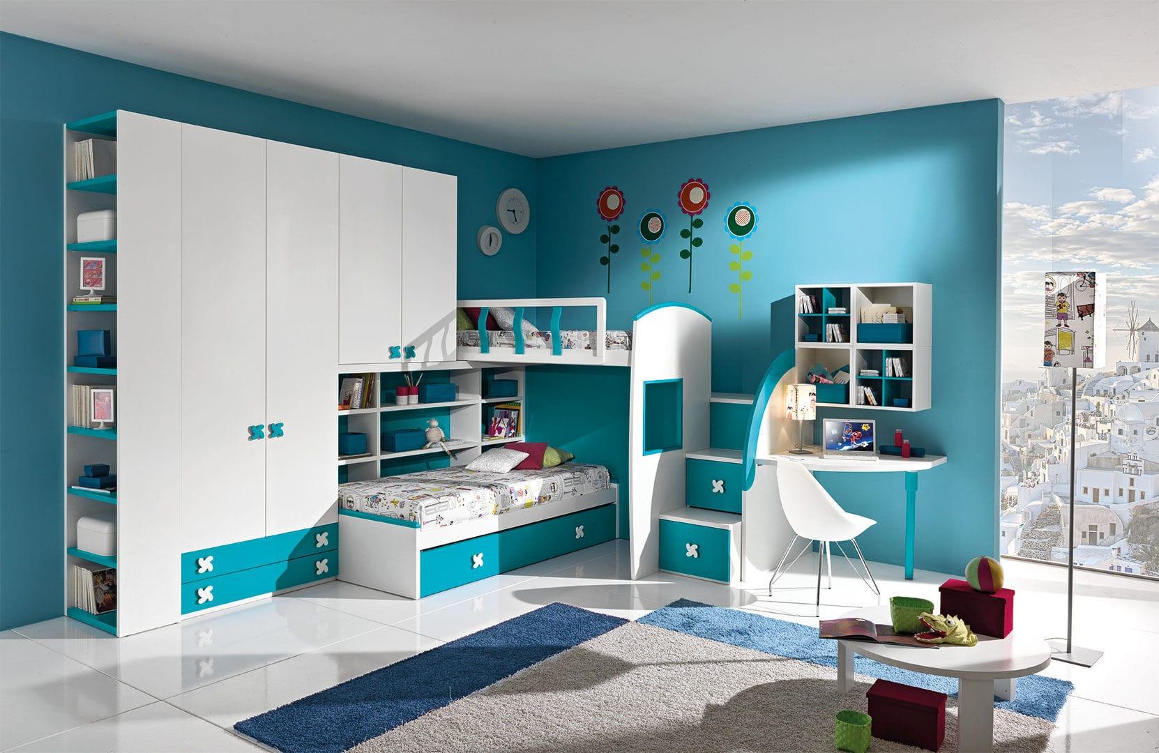 Cameretta Bianca E Blu : Cameretta bianca blu in legno per bimbo cm giessegi
