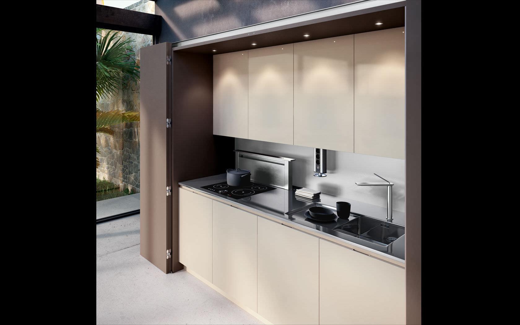 Cucina moderna / in legno / a scomparsa / senza maniglie ...