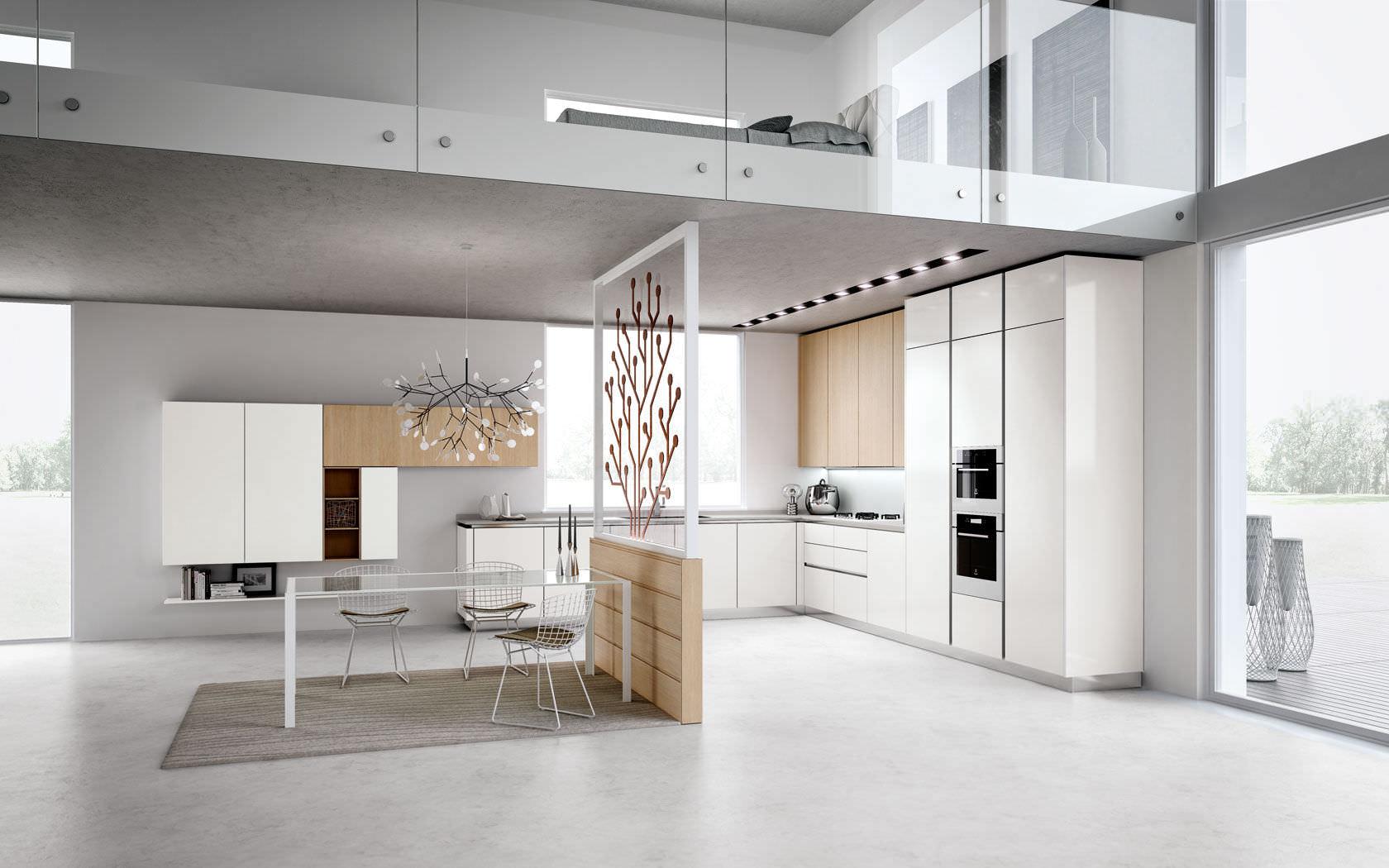 Cucina moderna / in legno / laccata / senza maniglie - TECNIKA PURA ...