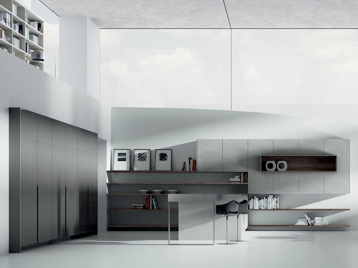 Cucina moderna / in legno / con isola / senza maniglie - SIGNUM ONDA ...