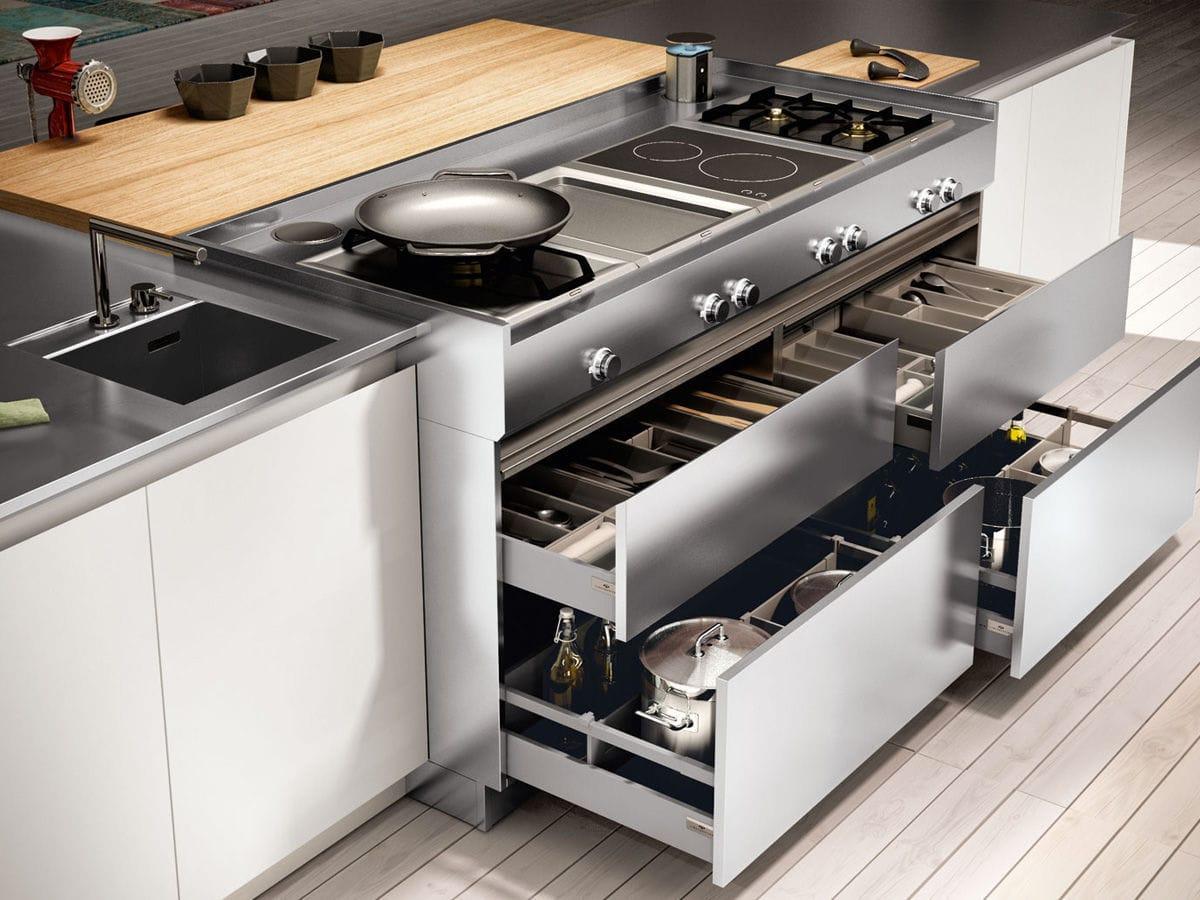 Cucina moderna / in legno / con isola / laccata - AMBRA - Lineaquattro