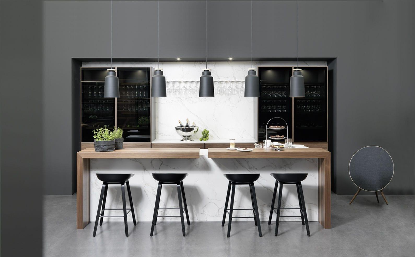 Bancone da bar / da cucina / in legno / dritto - CADRE - rational ...