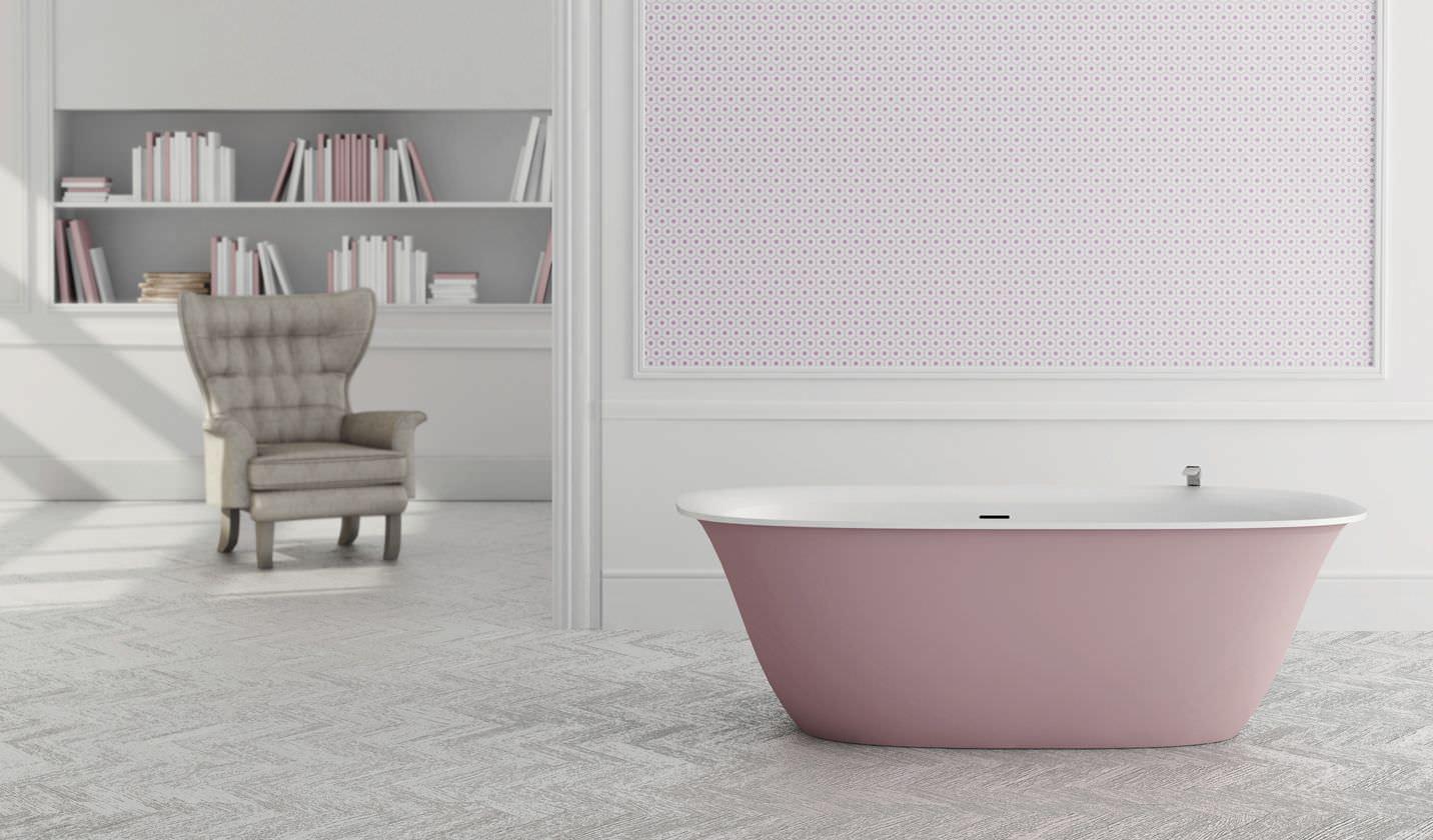 Vasca Da Appoggio : Vasca da bagno da appoggio ovale in solid surface