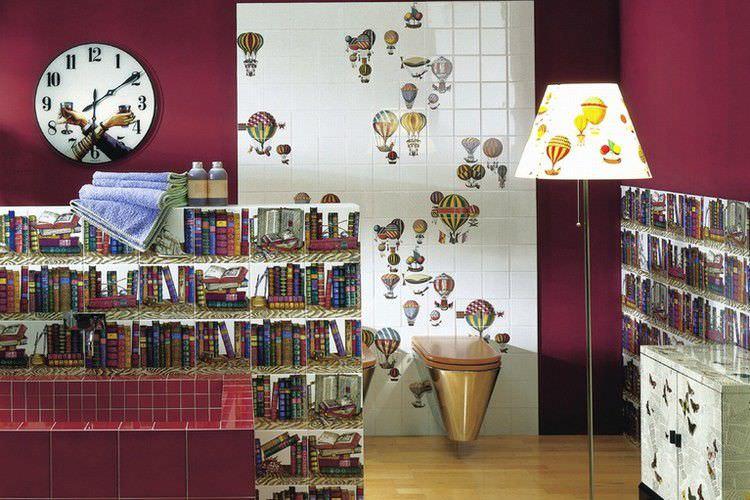 Piastrella da interno da parete in ceramica motivo geometrico