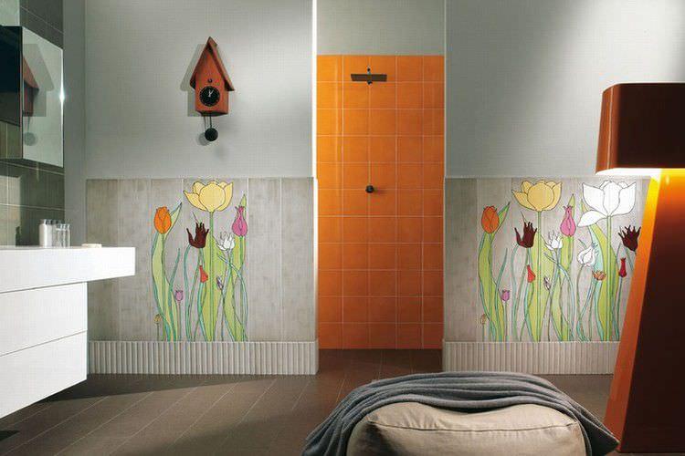piastrella da parete in gres porcellanato motivi floreali lucidata tulipani by ronald van
