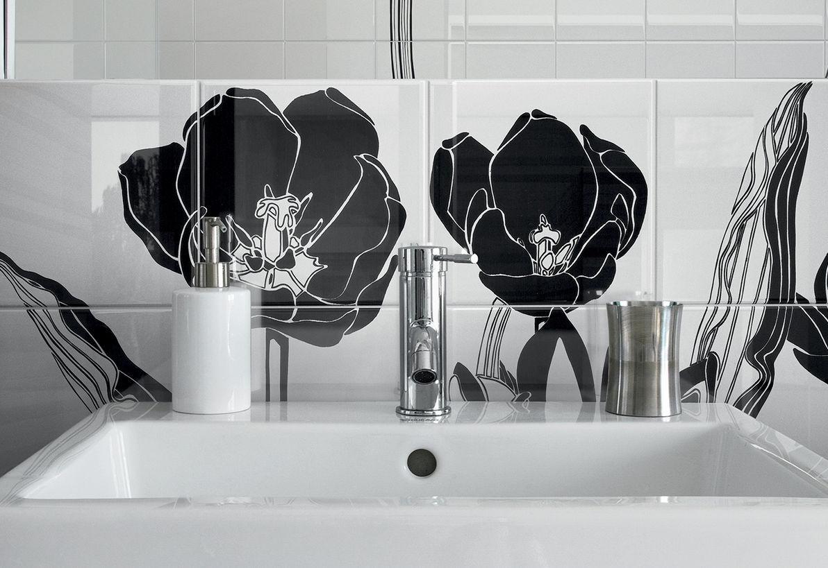 Piastrella da bagno da parete in ceramica motivo floreale