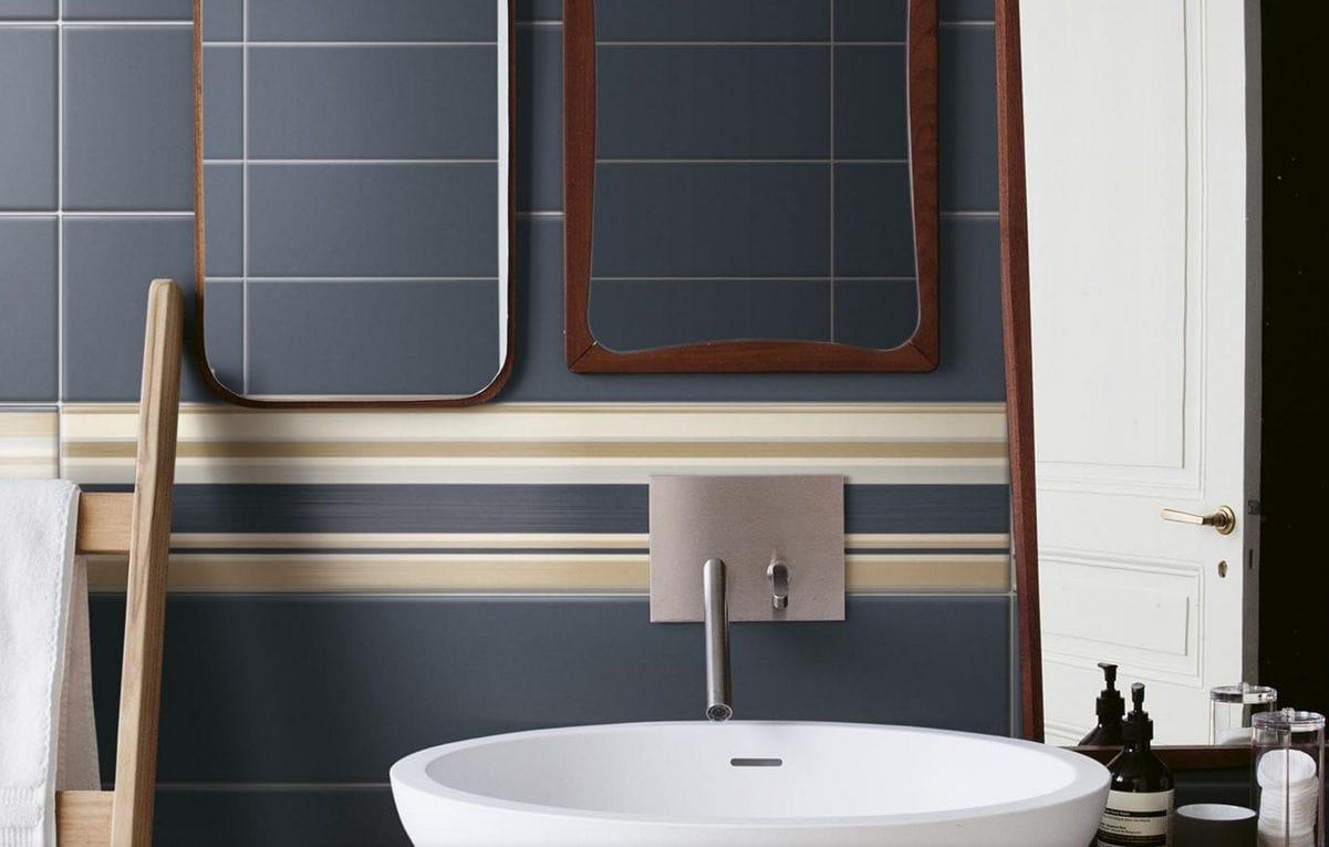 Piastrella da bagno da parete in ceramica a righe baiadera
