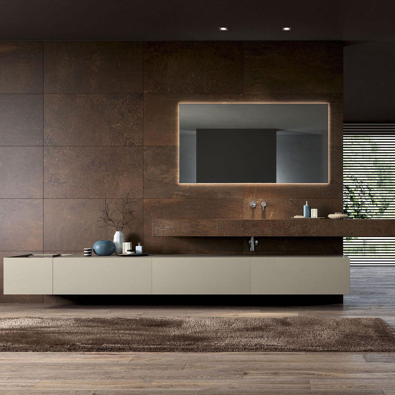 F Lli Stocco Arredo Bagno.Mobile Lavabo Sospeso In Corian Moderno Con Specchio Modula