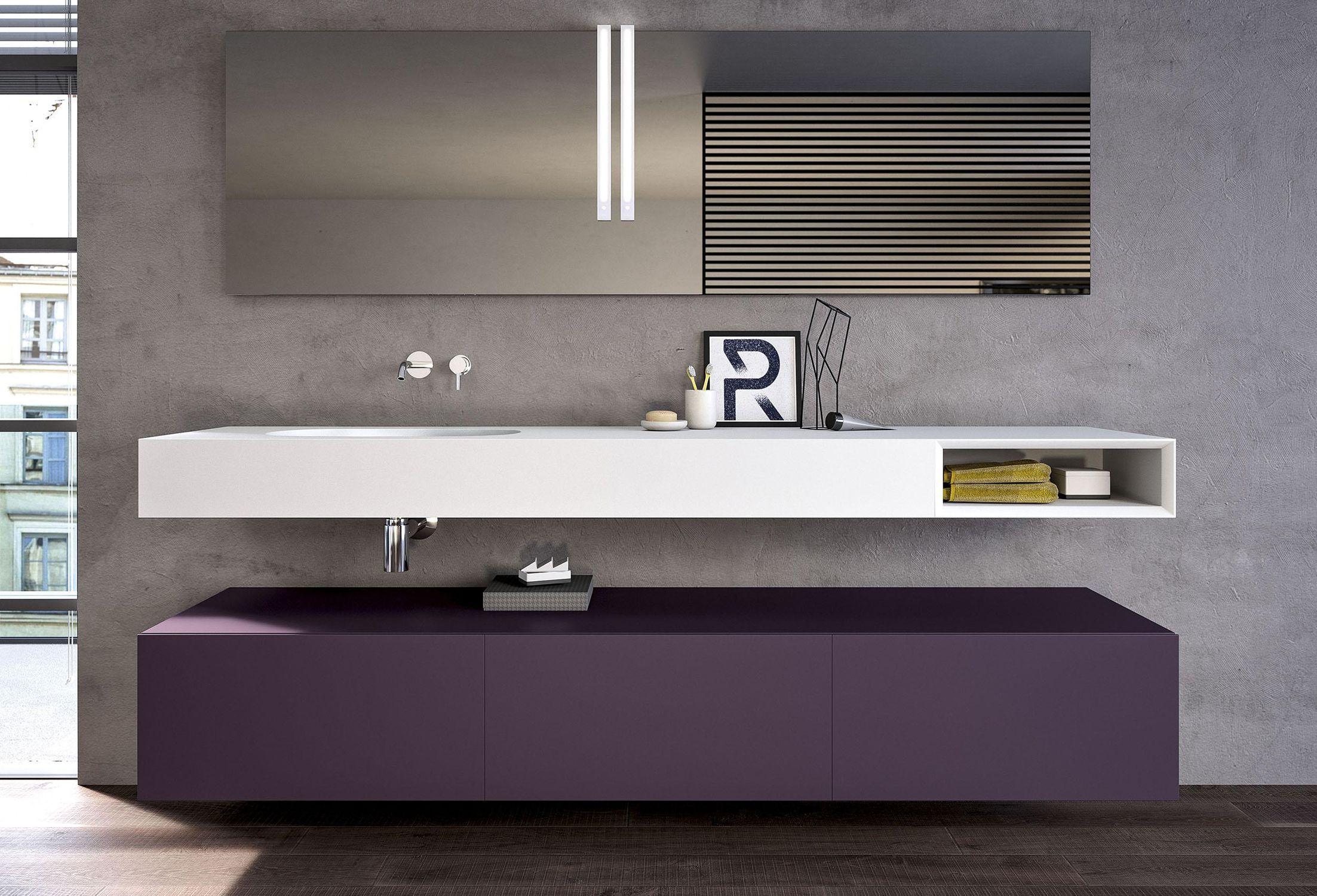 Mobile lavabo sospeso / in Corian® / moderno / con specchio - MODULA ...