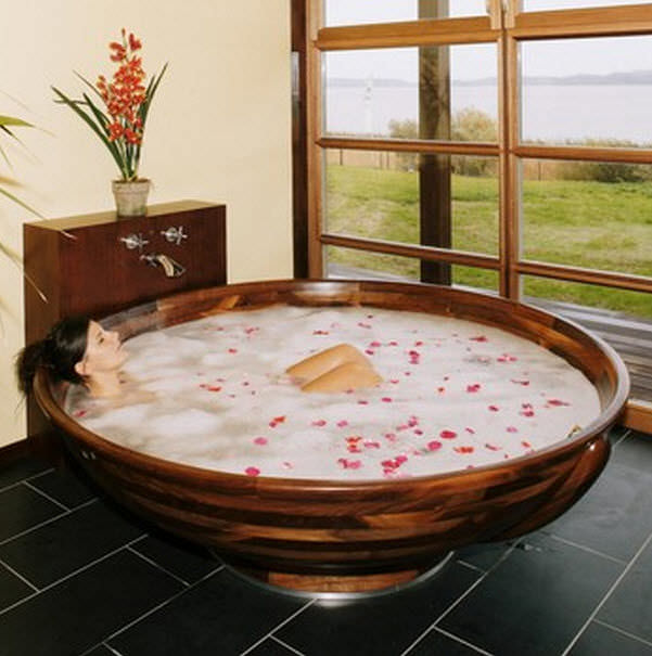 Vasca da bagno da appoggio / rotonda / in legno   madera m5   ws ...