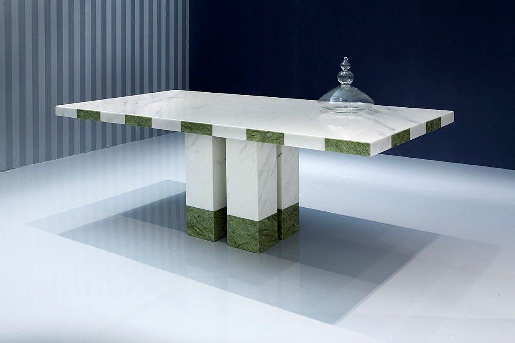 Tavolo da pranzo moderno in marmo rettangolare velvet