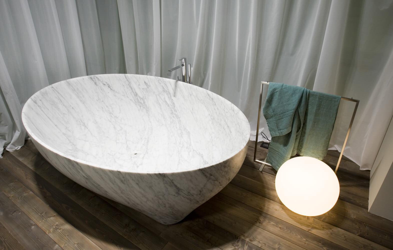 Vasca Da Bagno In Plastica : Vasca da bagno da appoggio ovale in marmo in plastica