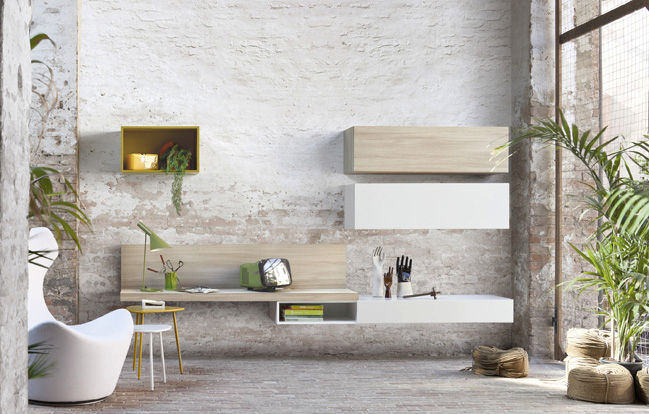 Parete attrezzata per soggiorno moderna free kube le monde wood