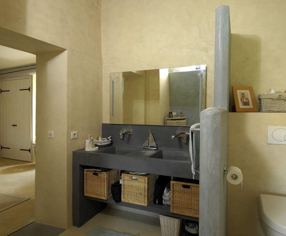 Mobile lavabo doppio / da appoggio / in cemento / moderno - ROUVIERE