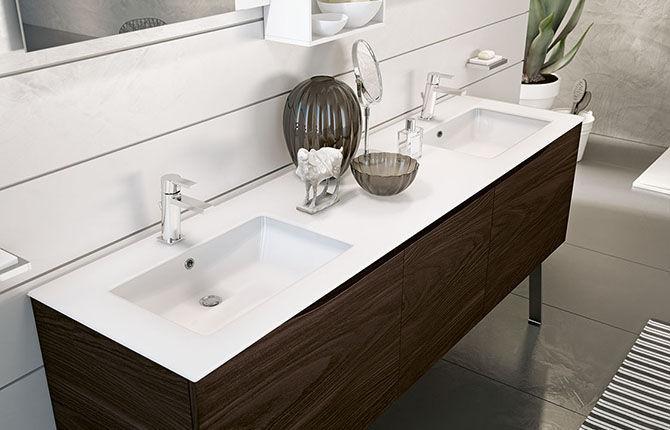 Mobile lavabo doppio / sospeso / in legno / moderno - SOUND: SWING ...