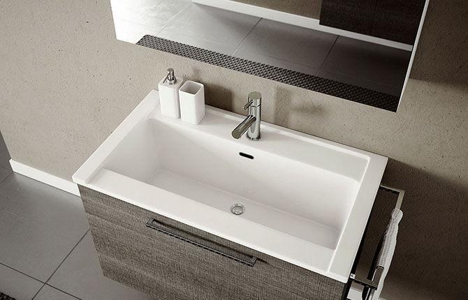Mobile lavabo sospeso / in legno / moderno / con specchio - DOUBLE ...