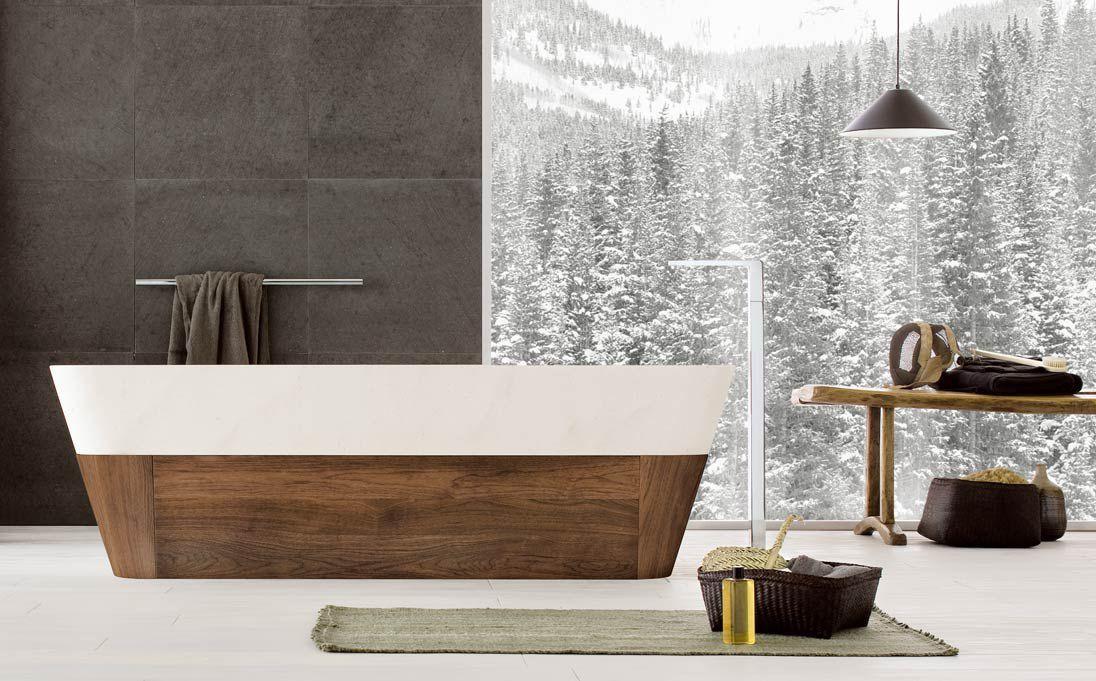 Bagno Legno Naturale : Vasca da bagno da appoggio in pietra naturale in legno duo