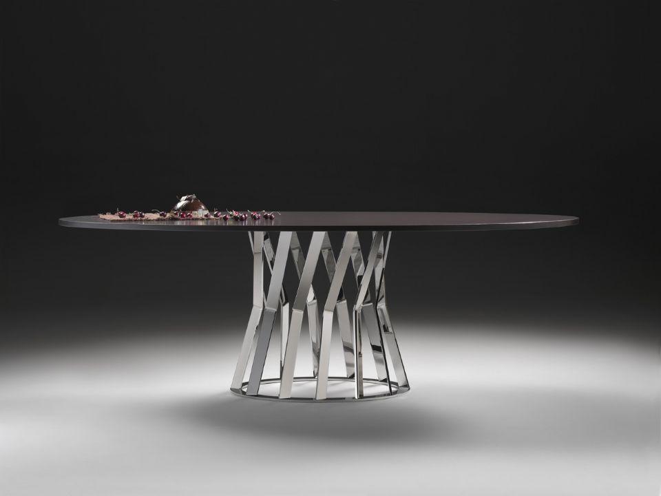 Tavolo moderno in marmo tondo ovale ray by stefano betlio