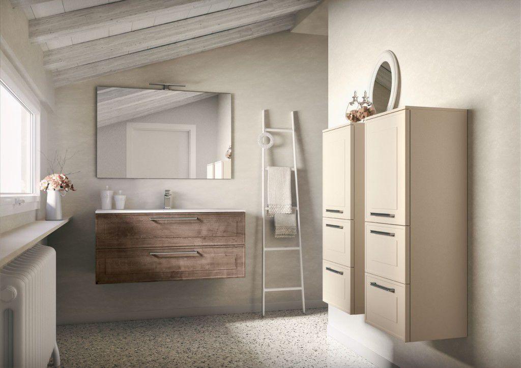 Mobile lavabo sospeso in legno in vetro in marmo dressy