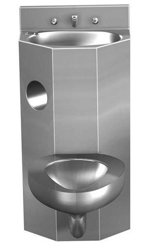 WC da appoggio / in acciaio inox / con lavabo integrato / per ...