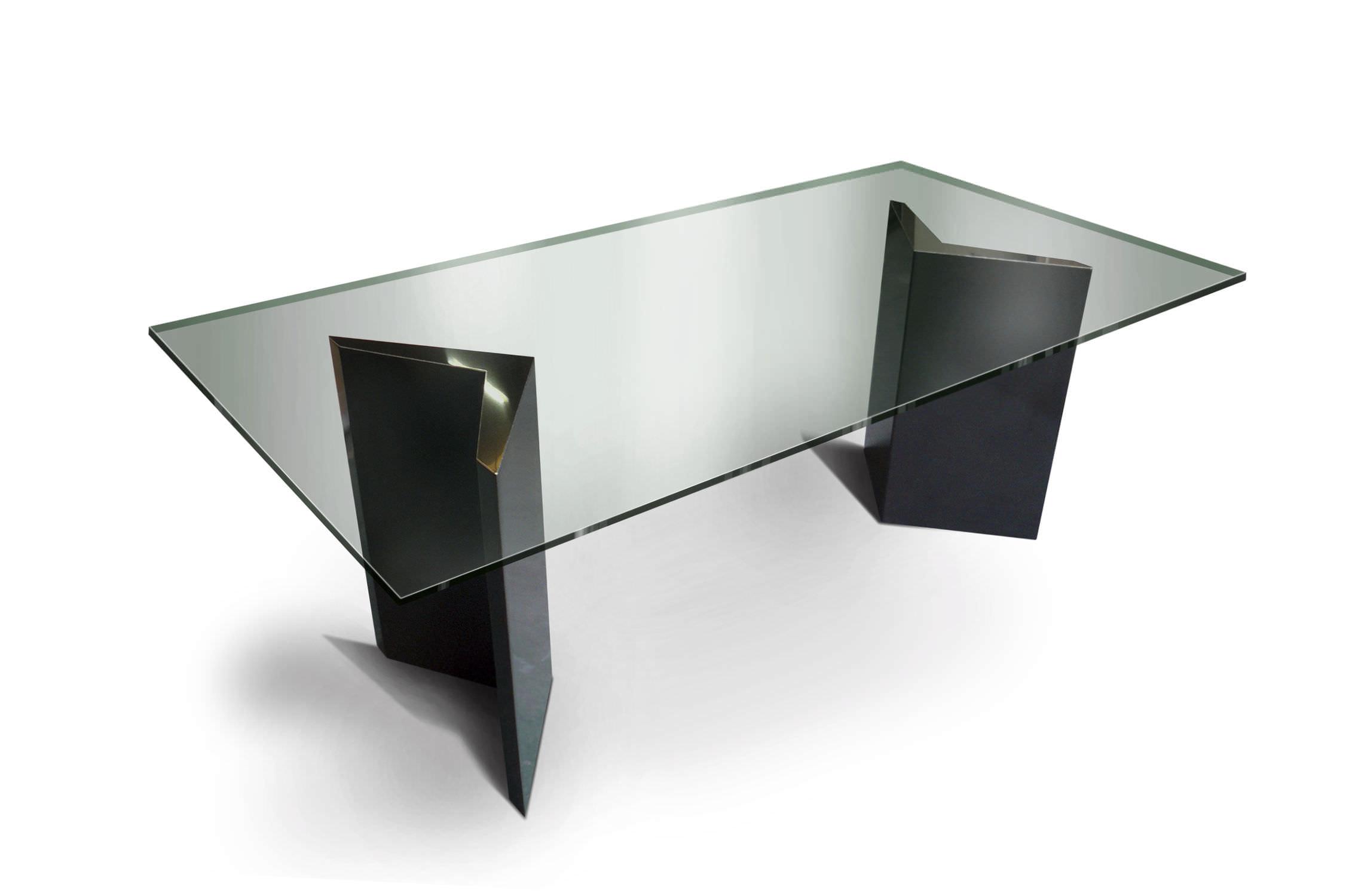 Scrivania Ufficio Vetro E Acciaio : Tavolo moderno in vetro in acciaio inossidabile rettangolare