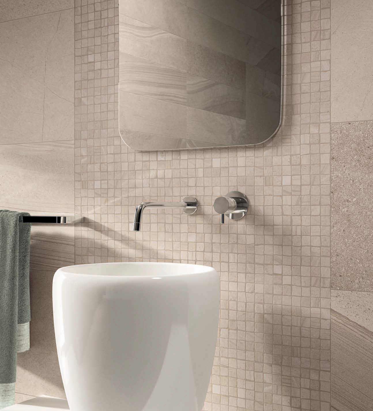 piastrella da bagno da pavimento in ceramica opaca re work multi beige
