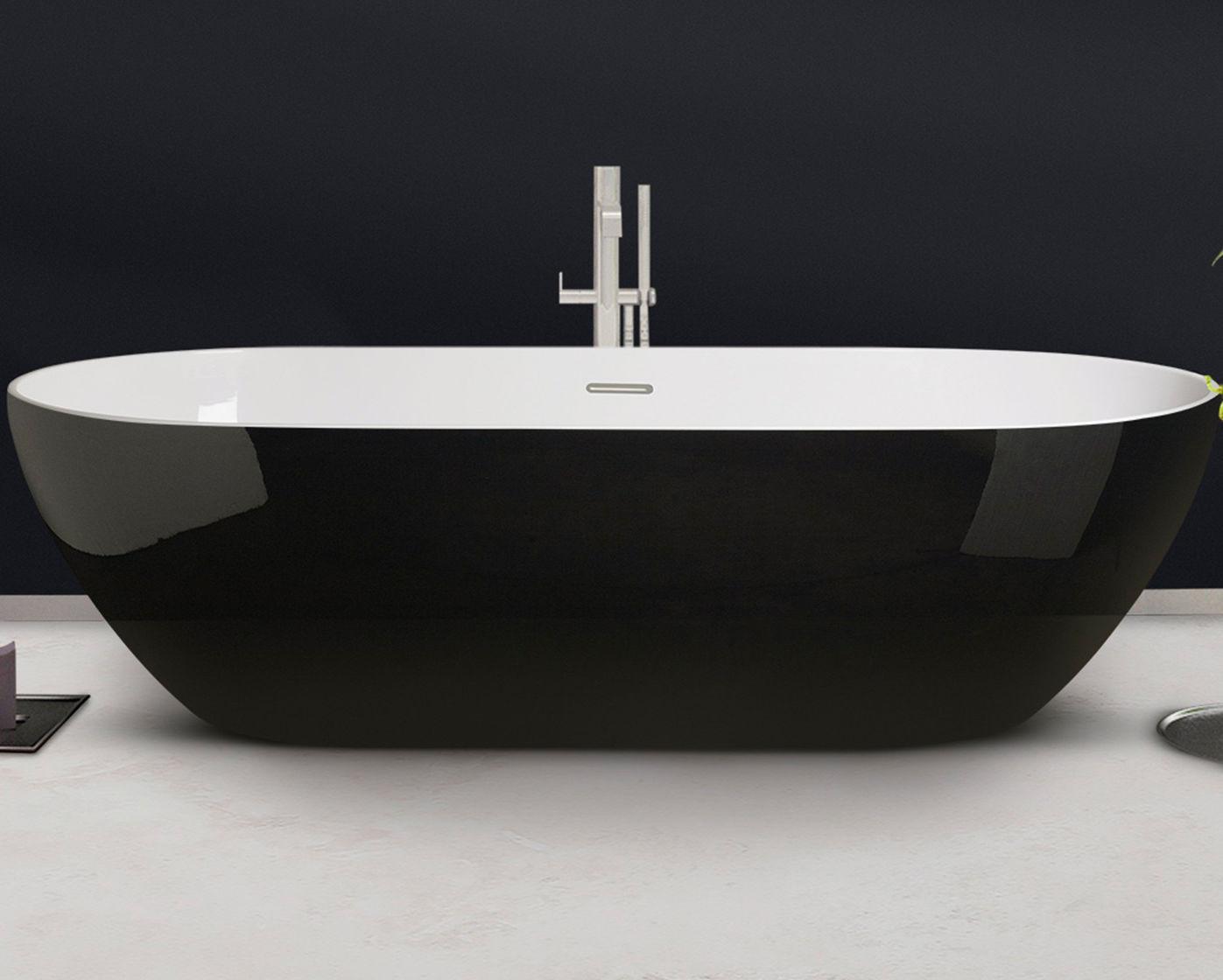Vasca Da Bagno White : Vasca da bagno da appoggio ovale in composito in acrilico