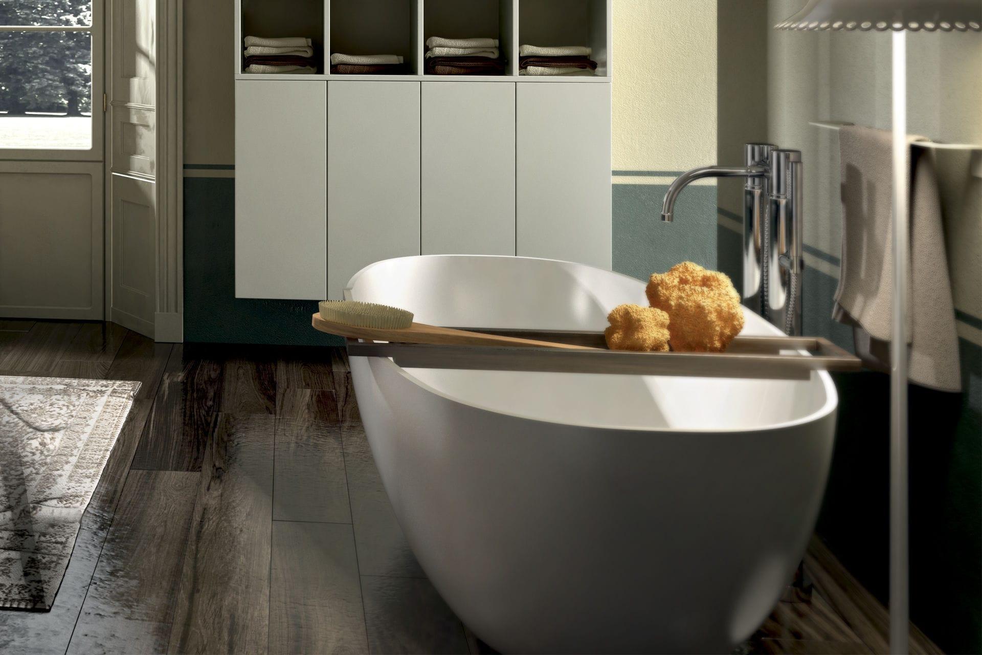 vasca da bagno da appoggio ovale in pietra space agor group
