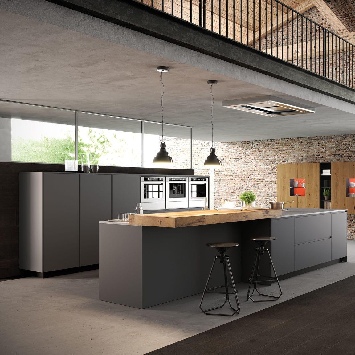 Cucina moderna / in legno laccato / in ferro / con isola - CORTINA ...
