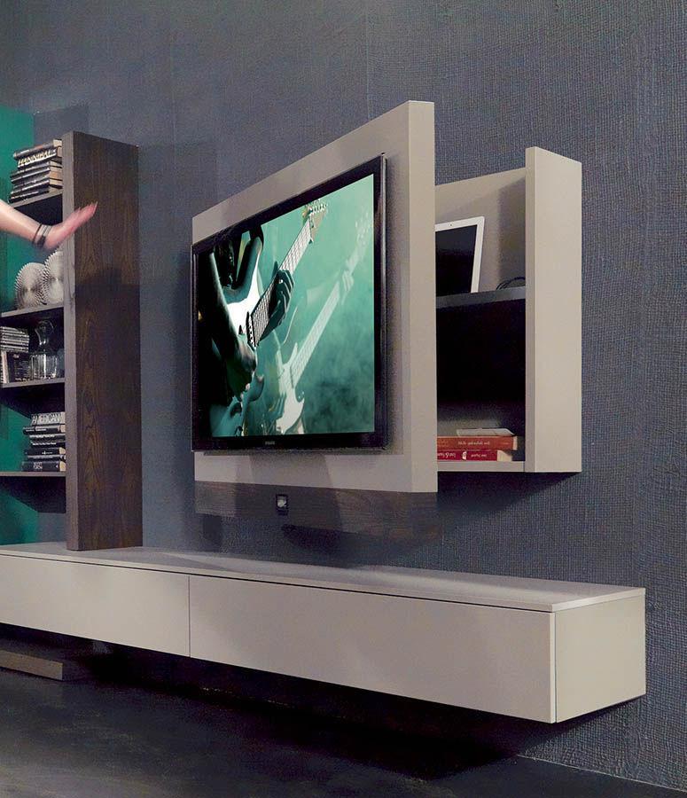 supporto per tv da parete moderno / girevole / in legno laccato