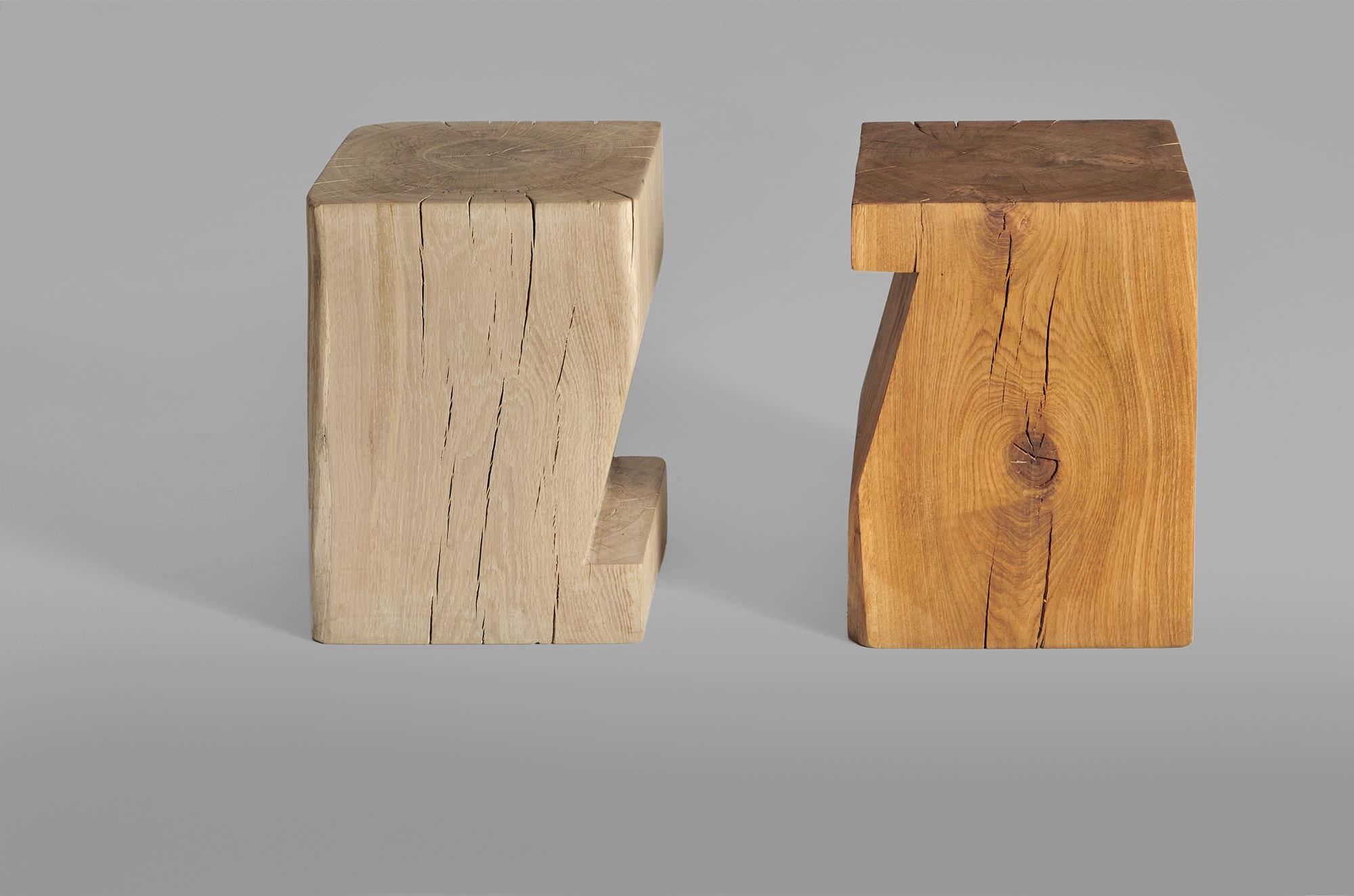 Sgabello design scandinavo in quercia in legno massiccio in