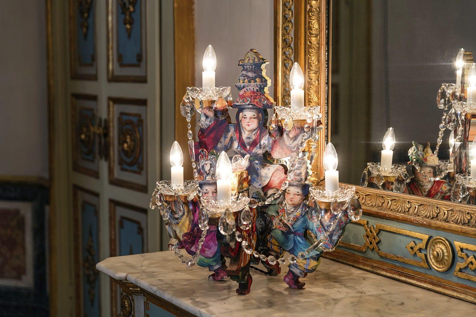 Lampada da tavolo in stile barocco in vetro soffiato da