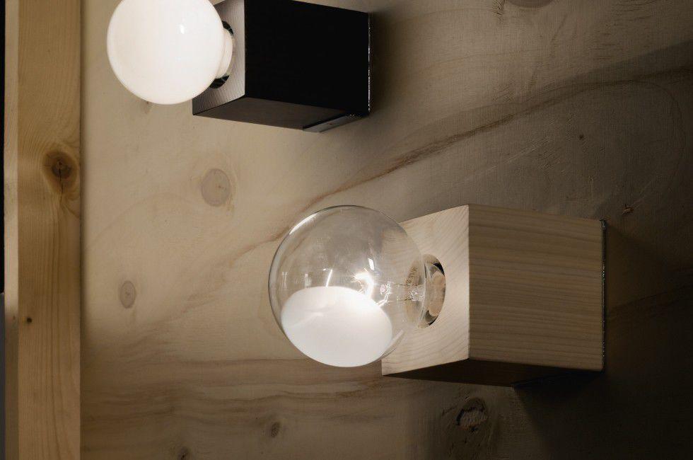 Applique portalampada led da muro g cubo cm con vetrino in