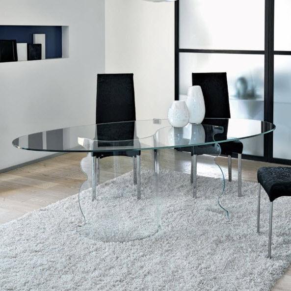 Tavolo da pranzo moderno / in vetro temprato / ovale / rettangolare ...