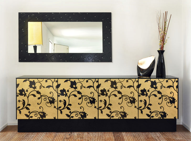 Credenza Moderna Vetro : Credenza moderna in vetro dorata nera tetris mad