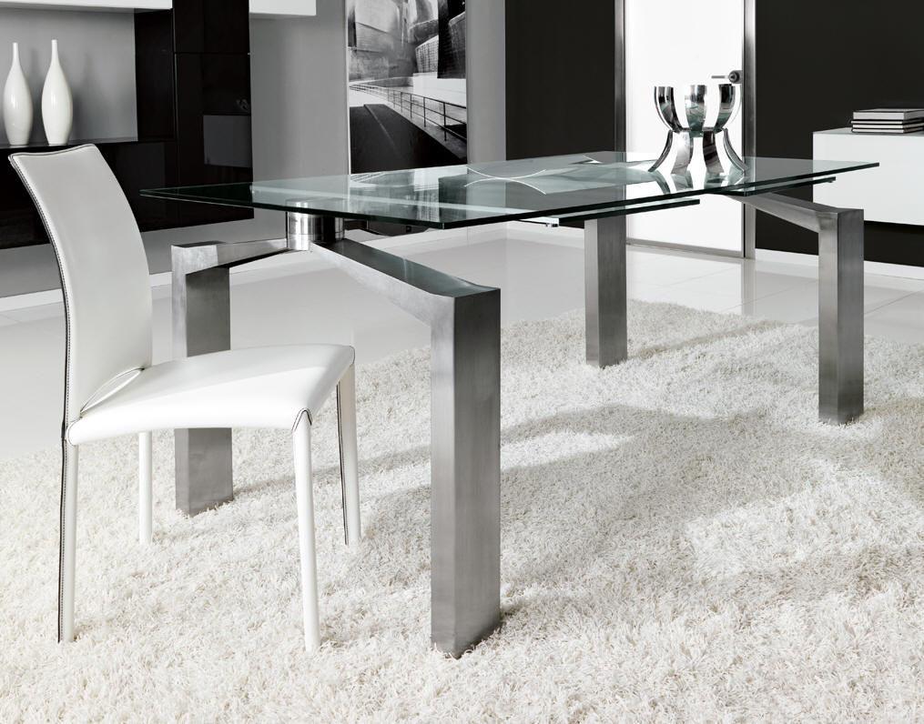 Tavolo da pranzo moderno / in vetro temprato / in acciaio ...