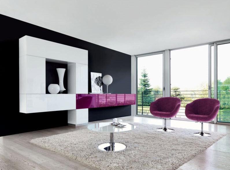 Parete attrezzata per soggiorno moderna / in vetro / in alluminio ...