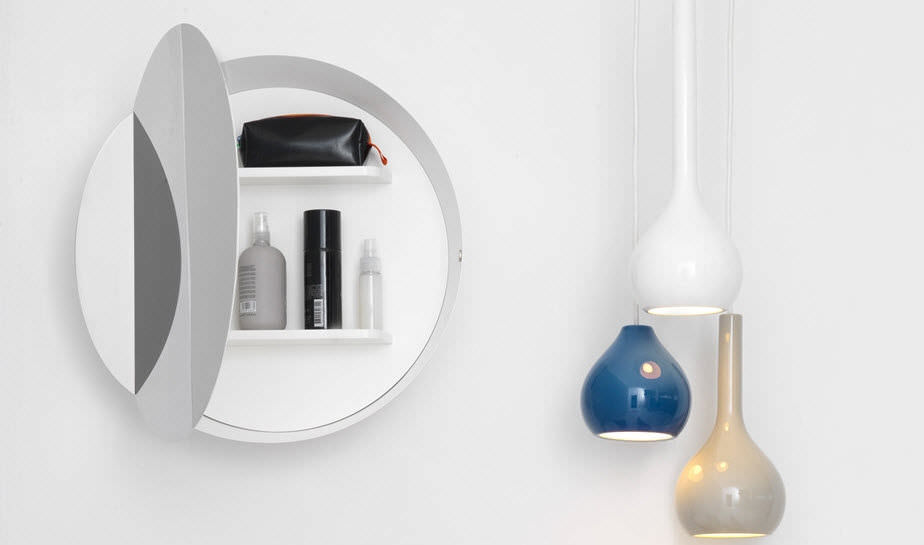 Specchio da bagno a muro con contenitore moderno tondo bon