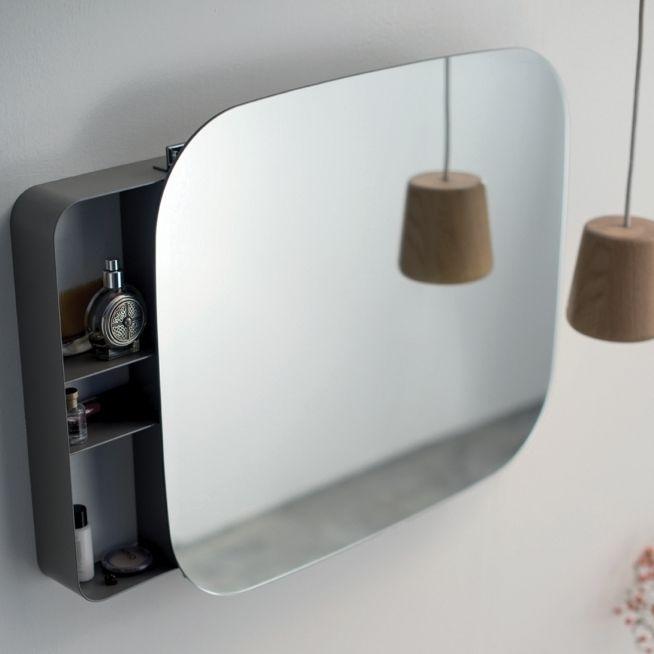 Specchio da bagno a muro / con contenitore / moderno / in metallo ...