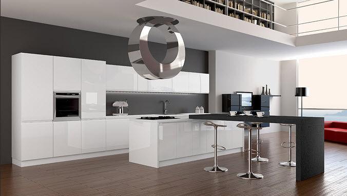 Cucina moderna / in laminato / lucida / laccata - ARCOBALENO - Arrex
