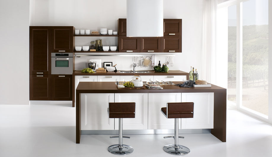 Cucina moderna / in legno / con isola / laccata - DENISE - Arrex