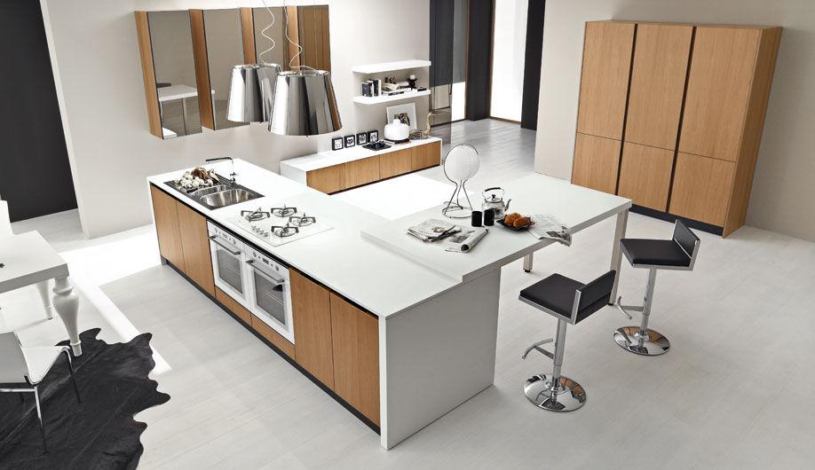 Cucina moderna / in noce / con isola / senza maniglie - TOPAZIO - Arrex
