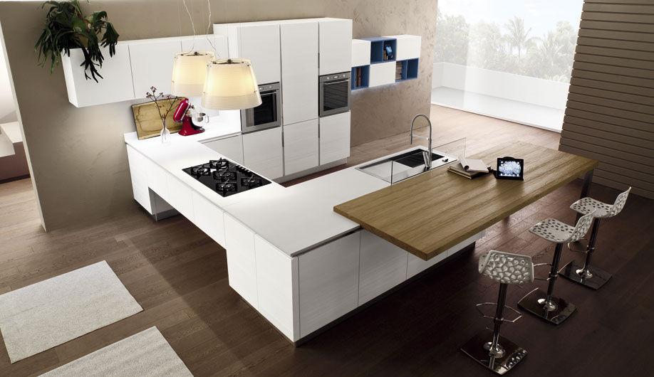 Cucina moderna / in legno / con isola / laccata - ANICE - Arrex