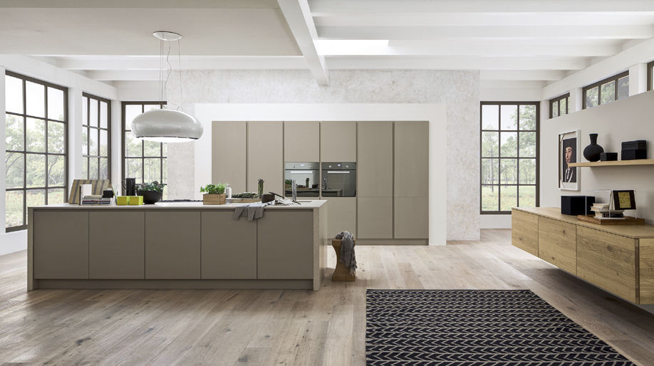 Cucina moderna / impiallacciata in legno / con isola - ZENZERO - Arrex