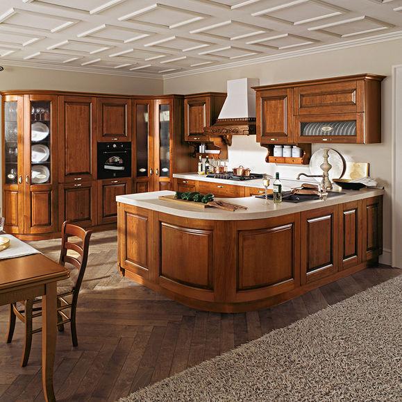 Cucina classica / in noce / a U / con impugnature - CASTELLANA - Ar-Tre