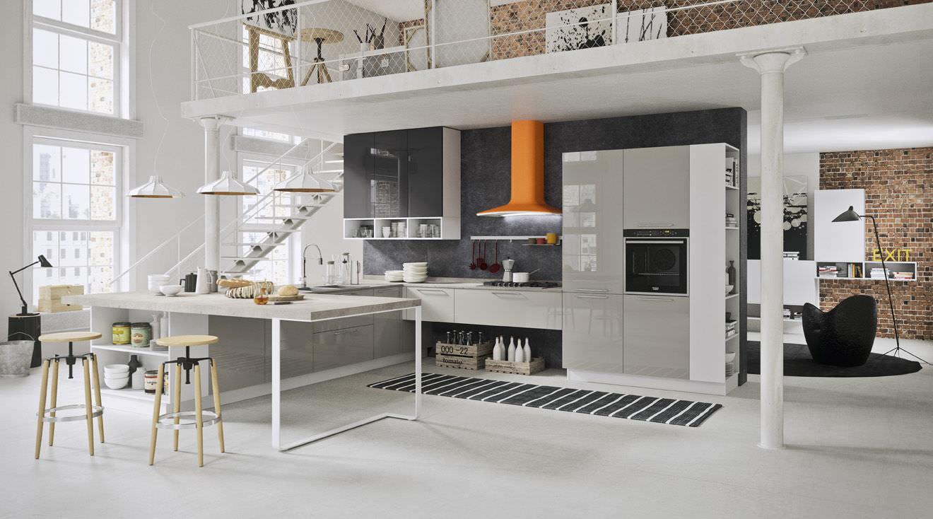 Cucina moderna / impiallacciata in legno / a U / laccata - BAHIA ...