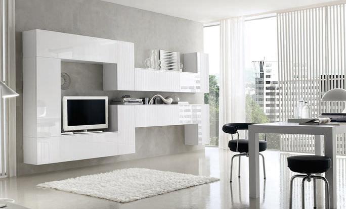 Parete attrezzata TV moderno / in legno laccato - KUBO : KU003 - h