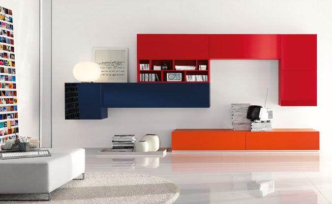 Parete attrezzata per soggiorno moderna kubo : ku004 h