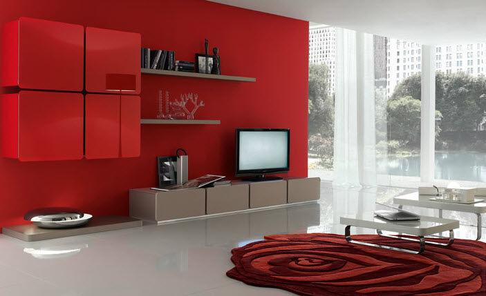 Beautiful Parete Rossa Soggiorno Images - Idee Arredamento Casa ...
